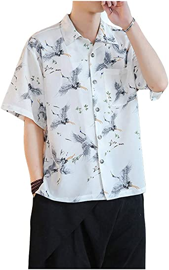 Camisa Japonesa para Hombre Camisa de Manga Corta con ...