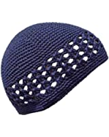 Luxury Divas Navy Crocheted Beanie Skull Cap Hat