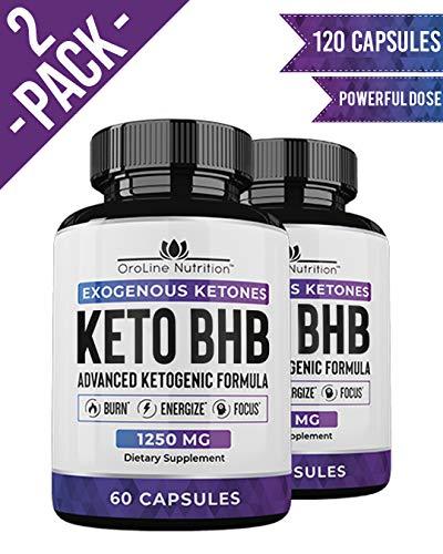 Keto Pills - (2 Pack | 120 Capsules) Advanced Keto Burn Diet Pills - Best Exogenous Ketones BHB Supplement OroLine Nutrition