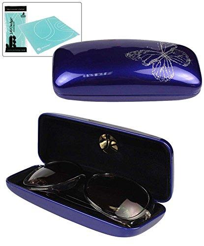 JAVOedge Dark Blue Butterfly Glossy Hard Glasses - Eyeglasses Blue Dark