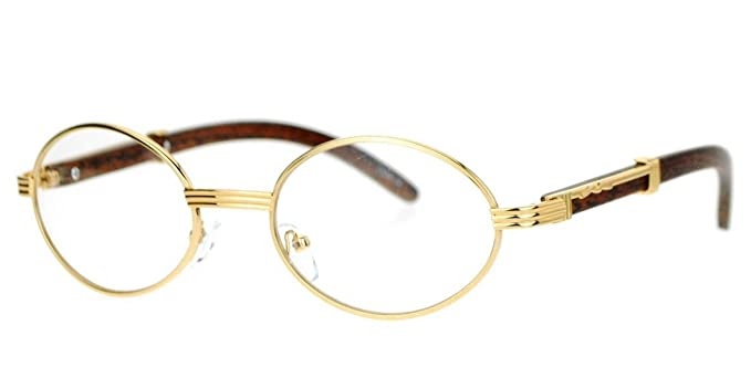 8dbfba52c62c Image Unavailable. Image not available for. Color  Oval Wood Buffs clear  glasses Oval UV400 Lenses and Gold frame ...