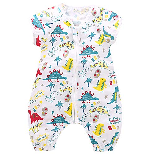 Baby Muslin Sleeping Bag with Feet Short Sleeve Sleepsacks with Legs for Toddler Infant Wearable Blanket for Early Walker, L