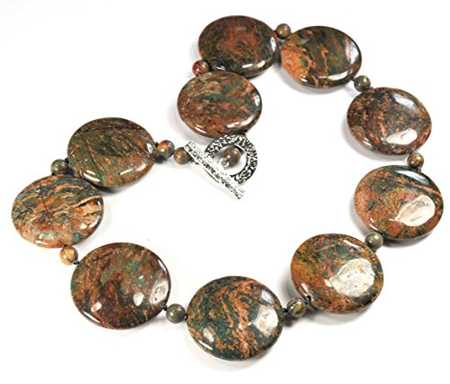 Ocean Jasper Coin Hand Knotted Necklace with Silver Tone Toggle