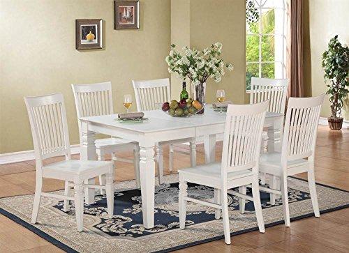 7-Pc Rectangular Dining Set in Linen White Finish