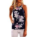 Women's Tops,Neartime Sleeveless Flower Printed Tank Vest T Shirt (M, Dark Blue)