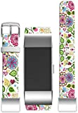 Bands for Fitbit Charge 2 / Leather Strap Compatible Replacement for Fitbit Charge 2(HR) Small/large [5.5'' to 8.5''] [Floral Colorful Girly For Girls Women]