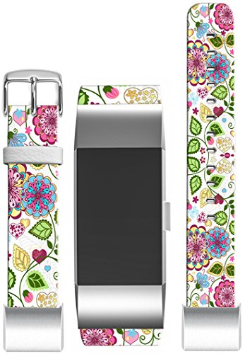 Bands for Fitbit Charge 2 / Leather Strap Compatible Replacement for Fitbit Charge 2(HR) Small/large [5.5'' to 8.5''] [Floral Colorful Girly For Girls Women] by Topgraph