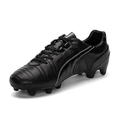 Puma King II FG - Botas de fútbol de Cuero para Hombre Azul Blanco y Negro