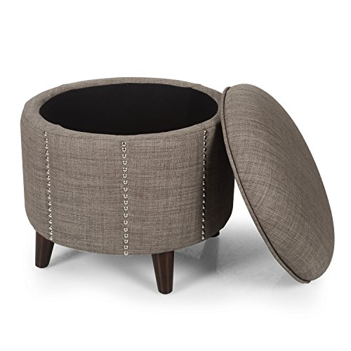 Adeco Stylish Button Tufted Lift Round Storage Ottoman, Dark Brown