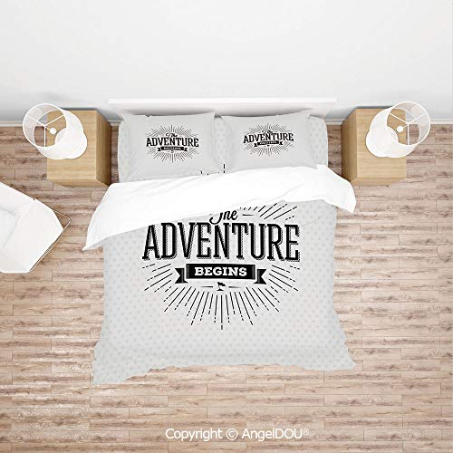 PUTIEN Durable Lightweight Fabric Printing Custom Bedding Set,Retro Beginning of The Adventure Motivational Quote on White Backdrop Vintage Decorative,with Zipper Closure Home Bedding Sets. ()