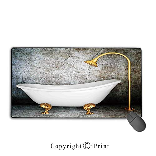 """Waterproof Mouse pad,Retro,Vintage Bathtub in Room with Grunge Wall Lifestyle Resting Spa Theme Art Print,Grey White Gold, Non-Slip Rubber Base Mouse pad with Lock,15.8""""x23.6""""inch"""
