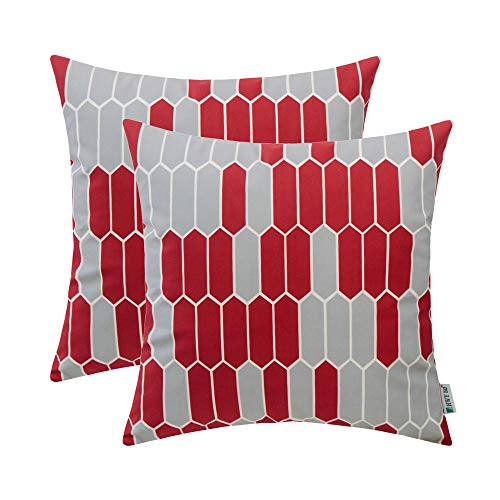 (HWY 50 Throw Pillows Covers Sets Cushion Cases for Couch Sofa Bedroom Soft Decorative Simple Geometric Wine Red Print 18 x 18 inch Pack of 2)