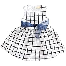 Itaar Cute Baby Toddler Girl Kids Cotton Top Bowknot Plaid Dress Outfit Clothes