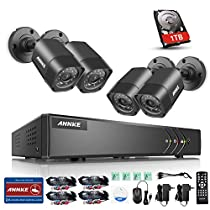 ANNKE 8CH HD-TVI 1080P Lite Video Security System DVR with 1TB Hard Drive and (4) 720P Outdoor Fixed Weatherproof Cameras