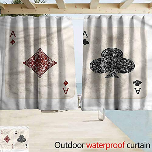 Silk Gambling Tie - MaryMunger Outdoor Waterproof Curtains Lifestyle Ace of Diamonds Gambling Energy Efficient, Darkening W72x45L Inches