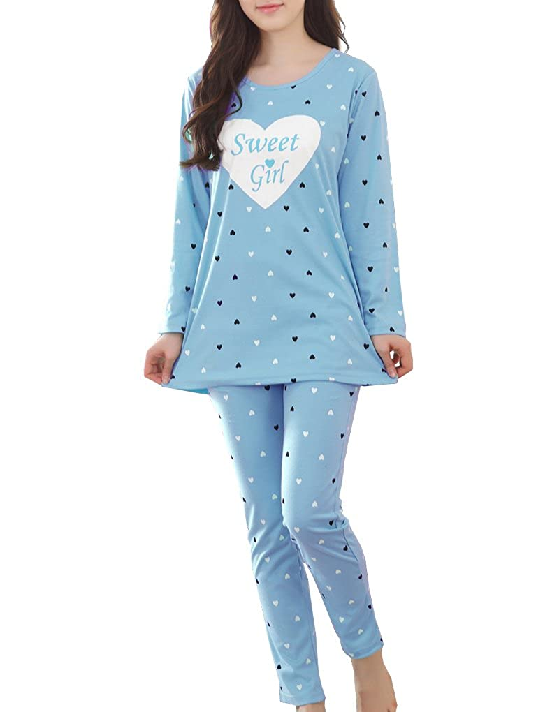 MyFav Girls' Comfy Sleepwear Hearts Shape Pajama Set Sweet Dream Leisure Nighty