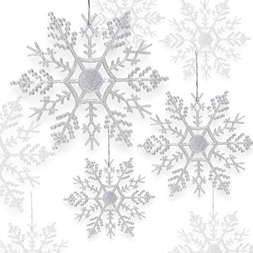 BANBERRY DESIGNS Snowflake Christmas Ornaments - Set of 42 Assorted Sized Snowflakes - Iridescent Colored Snow Flake Ornament with Glitter Accents - Winter Wonderland Decorations