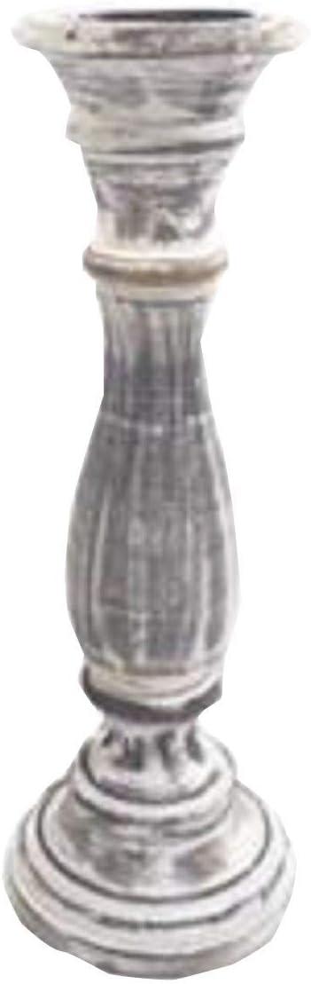 Small 20cm mango effetto legno intagliato a colonna Colore: Bianco Marrone Porta Candela da chiesa