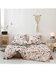 Amacigana Retro Style Bedding Set 3 Piece Set Soft and Comfortable, Machine Washable .Comforter Cover with Button Closure and 2 Pillow Shams.