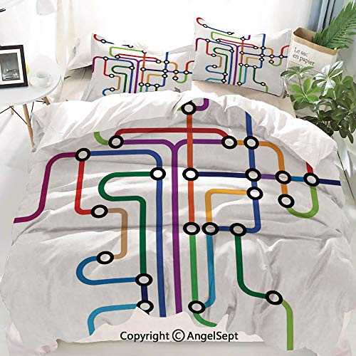 Homenon Map Decor Duvet Cover Set Twin Size,Colorful Abstract Subway Map Lines and Dots Navigation Guide Modern Underground Railway,Decorative 3 Piece Bedding Set with 2 Pillow Shams