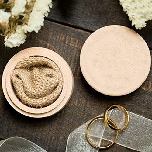 - Werrox Vintage Rustic Round Wooden Wedding Ring Jewelry Trinket Box Wood Storage Case | Model JWRLBX - 116