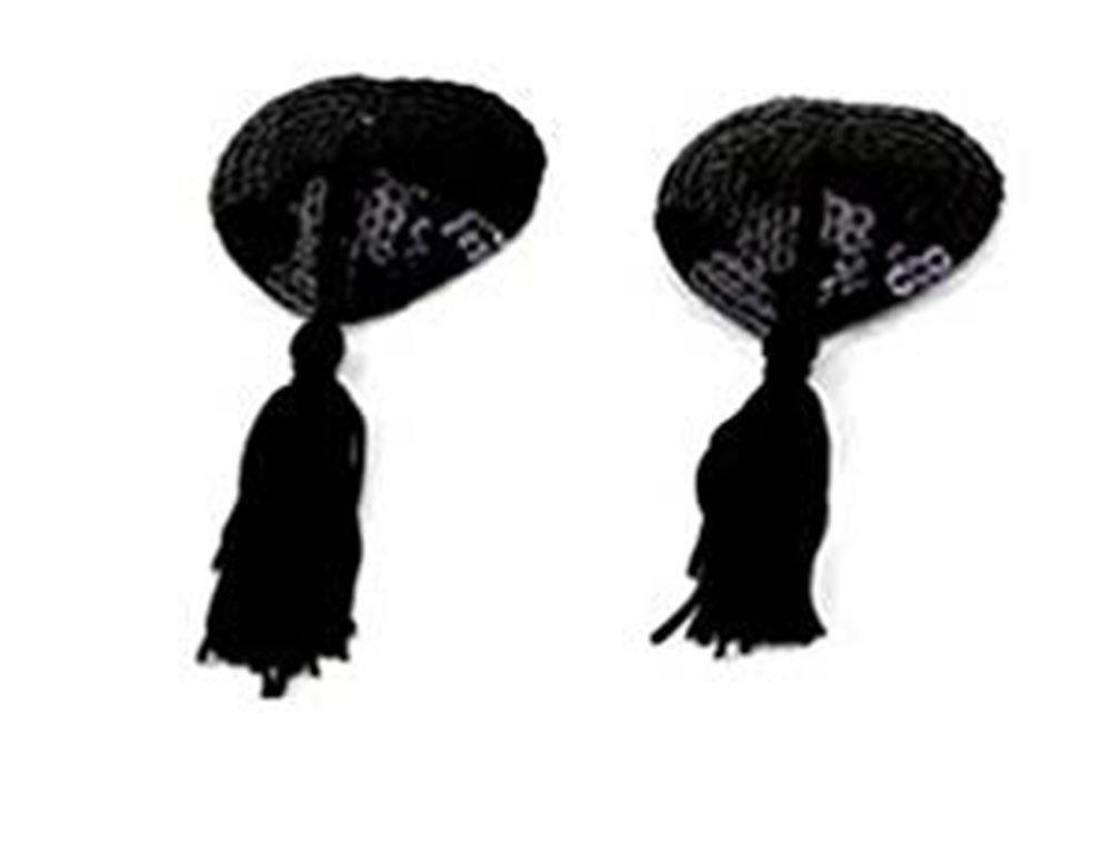 Demarkt Heart Pasties Sexy Women Lingerie Tassel Pasties Stickers Breast Bra Nipple Cover (Black)