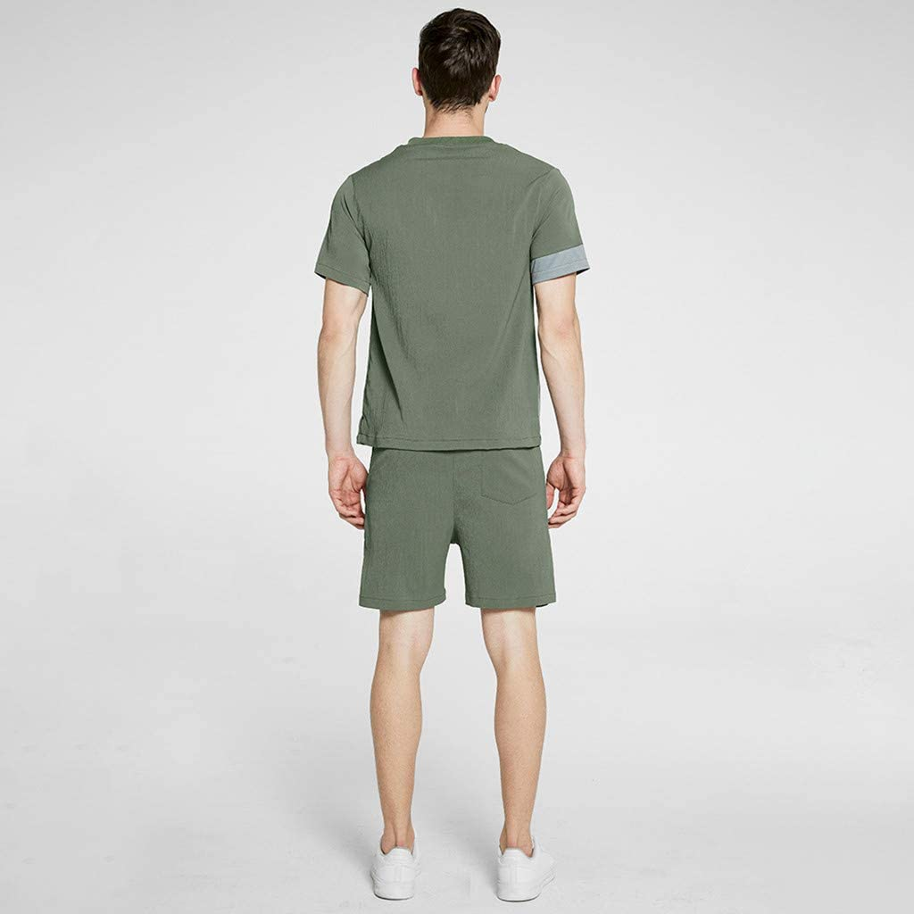 F/_Gotal Men Outfits 2 Pieces Fashion Summer Short Sleeve Tees /&Shorts Sets Splash-Ink Print Loose Casual Tracksuit