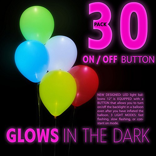 LED Light Up Balloons Pack of 30 Premium Led Balloons Mixed Color Equipped Push Button Switch-3 Flashing Modes Fillable with Helium or -