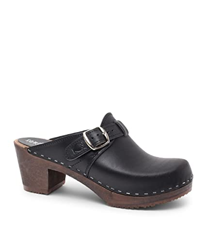 f2b15d0fd95bd Sandgrens Swedish High Heel Wooden Clog Mules for Women