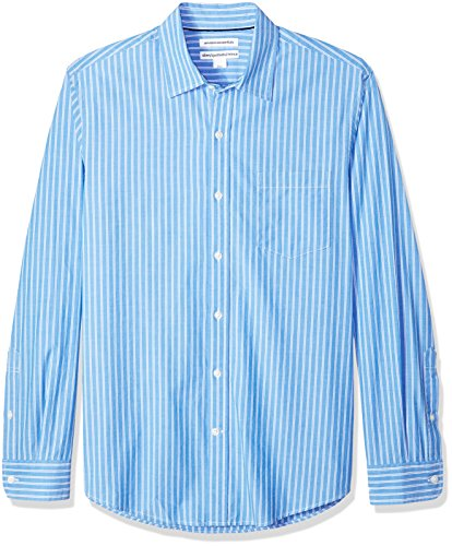 (Amazon Essentials Men's Slim-Fit Long-Sleeve Stripe Casual Poplin Shirt, Blue/White Stripe, Medium)