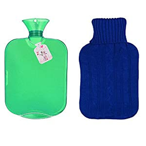 KONDISCO Hot Water Bottle,2 Liter PVC Classic Rubber Transparent Hot Water Bottle with Knit Cover,BPA & Phthalates Free.