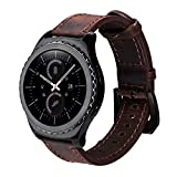20mm Quick Release Strap Genuine Vintage Leather Watch Band for Samsung Gear S2 Classic SM-R732/R735, Gear Sport, Huawei Watch 2, Moto 360 2 Mens 42mm, Garmin and Standard 20mm Width Watches (Coffee)