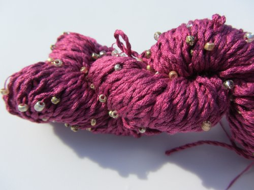Louisa Harding Mulberry Hand Beaded Silk Yarn 35 Raspberry