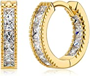 14K Gold Plated 925 Sterling Silver Post Cubic Zirconia Hoop Earrings for Women Elegant Gift Box Packaging
