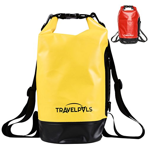 Waterproof Dry Bag 10L – Lightweight Clean & Dry Bag Pack For Kayaking, Fishing, Hiking, Camping, Boating, Travel & Outdoor Activities – With Side Handle & Adjustable Straps (Yellow & Black, 10L)
