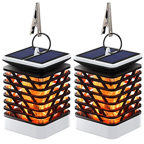 Hanging Accent Light - Hallomall Outdoor Solar Hanging Lights, Solar Lanterns Waterproof IP55 with Dancing Flame Effect 75LED for Garden Patio Umbrella Lamp Tree Pool Pavilion Lawn Porch Decor- 2 Pack