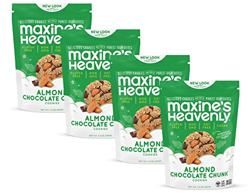 Maxine's Heavenly - Gluten Free, Soy Free, Non-GMO, Vegan - Almond Chocolate Chunk Cookies - 7.2 ounce bags (4 pack) by Maxine's Heavenly