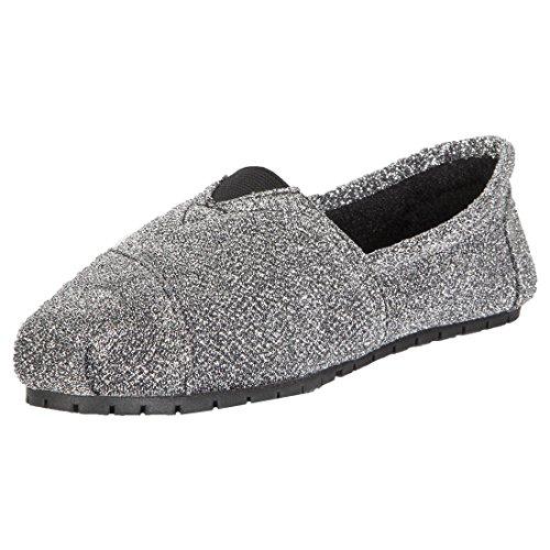 Hounds - Mocasines Con Forro Polar, Para Mujeres, Pisos, Slip, Zapatos, Plateado