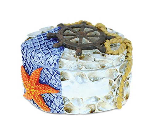 Puzzled Resin Seashell with Starfish Jewelry Box, 2 Inch Figurine Intricate & Meticulous Detailing Art Handcrafted Trinket Accessory Storage Tabletop Accent Nautical Ocean Sea Life Theme Home Décor