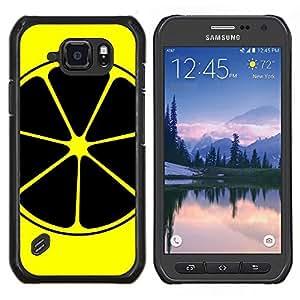 Caucho caso de Shell duro de la cubierta de accesorios de protección BY RAYDREAMMM - Samsung Galaxy S6Active Active G890A - Negro y amarillo limón Fruta Anaranjada