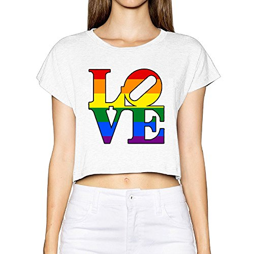 VOLTE Love Rainbow Lesbian Gay Pride LGBT Ladies Sexy Cool Bare Midriff Crop Top (2015 Rainbow Vacuum compare prices)