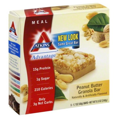 Atkins Protein-Rich Meal Bar, Peanut Butter Granola, 5 (High Protein Meal Bar)