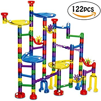 Marble Run Toy - Meland 122 Pcs Marble Game STEM Learning Toy, Educational Construction Building Blocks Toy, Marble Set Gift for Kids 4 5 6 + Year Old Boys Girls
