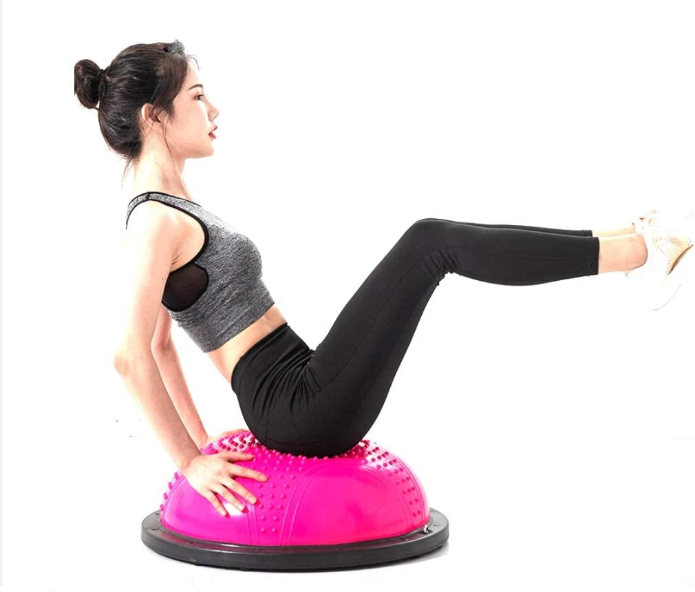 Half Yoga Exercise Ball with Resistance Bands Fitness Home Gym Workout Balance Ball Trainer
