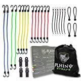 RHINO USA 28pc Bungee Cord Hook Assortment with 4 FREE Tarp Clips, Heavy Duty Organizer Bag, Canopy Ties & Ball Bungees - Highest Quality Bungie Cords Set on Amazon