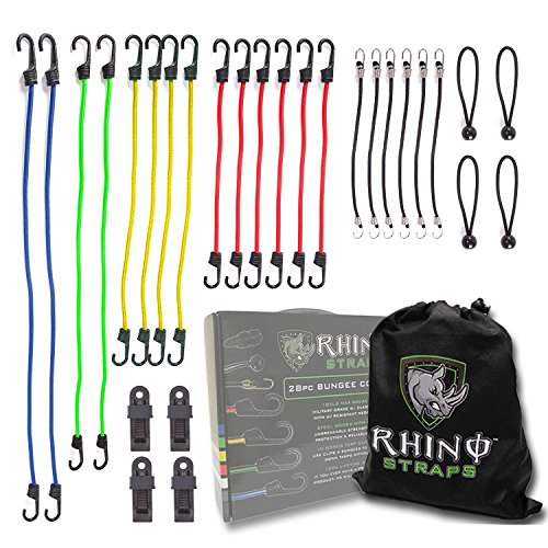 RHINO USA Bungee Cords with Hooks 28pc Heavy Duty Assortment with 4 FREE Tarp Clips, Drawstring Organizer Bag, Canopy Ties & Ball Bungees - Highest Quality Bungie Cord Set on Amazon by Rhino USA