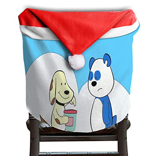 Fabric Slipcovered Loveseat - OuLian Christmas Hat Chair Covers Puppy Days Season Chairs Back Cover Slipcovers Kitchen Sets for Festive Decor