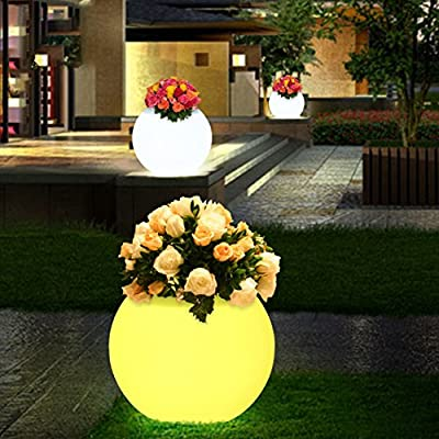 LgoodL LED Ball Light, Rechargeable Remote Control Cordless 16 RGB Colors Decorative Waterproof Night Lights Flower Pots Outdoor Decorative Park Landscape Lights D65X50CM
