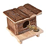 Yunt Hamster Natural Bark Wood House Toy Nest Villa Pet Living Habitat for Hamsters Rats Mice and Other Small Animals C