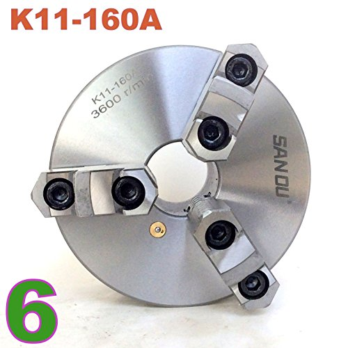 1pc Lathe Chuck 6'' 3 Jaw Self-centering w/ Back Plate 2-1/4''-8TPI K11-160A by Generic